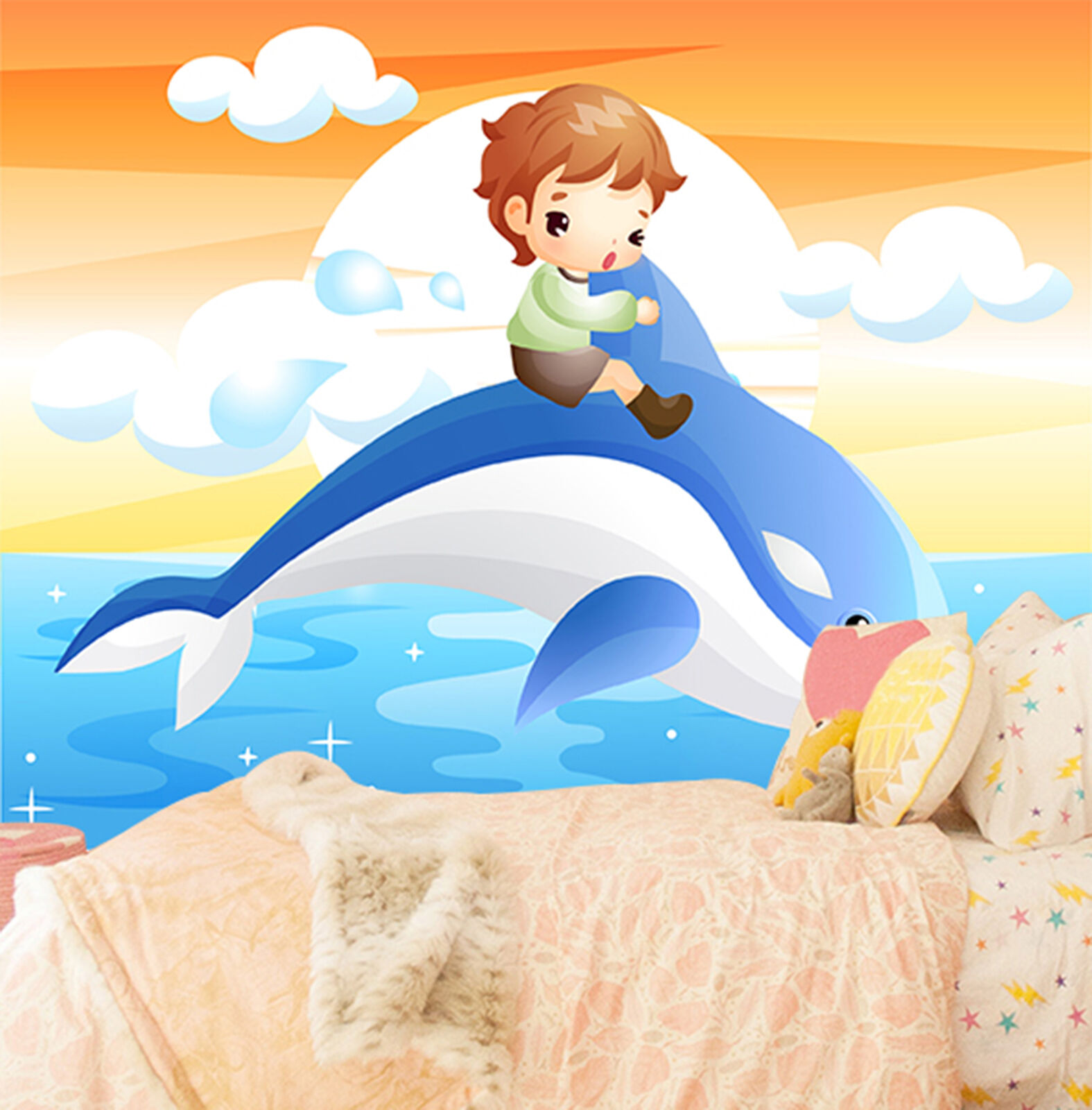3D dolphin ocean Wall Paper Print Decal Wall Deco Indoor wall Mural