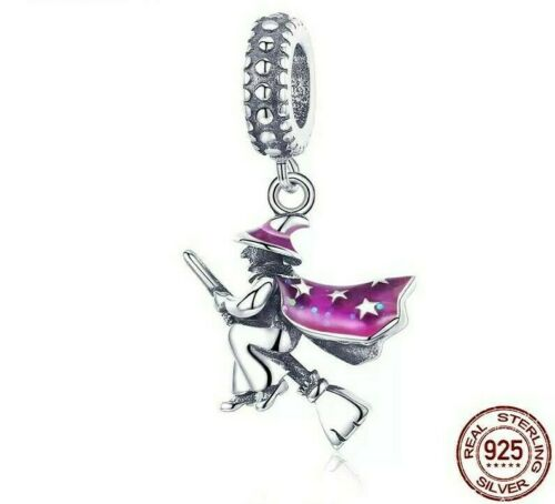 Witch Magic Broom Charm For Charm Bracelet Bead Pendant 925 Sterling Silver