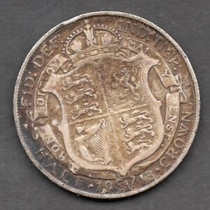 1913 Great Britain King George V silver half crown coin