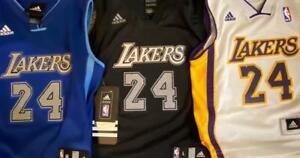 adidas LA Lakers Kobe Bryant Kids 4 5 6 7 SWINGMAN STITCHED JERSEY ...