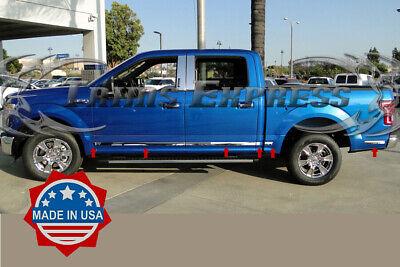 "2015-2019 Ford F-150 Crew Cab 4Pc Flat Body Side Molding Trim 1.5/"" Chrome"