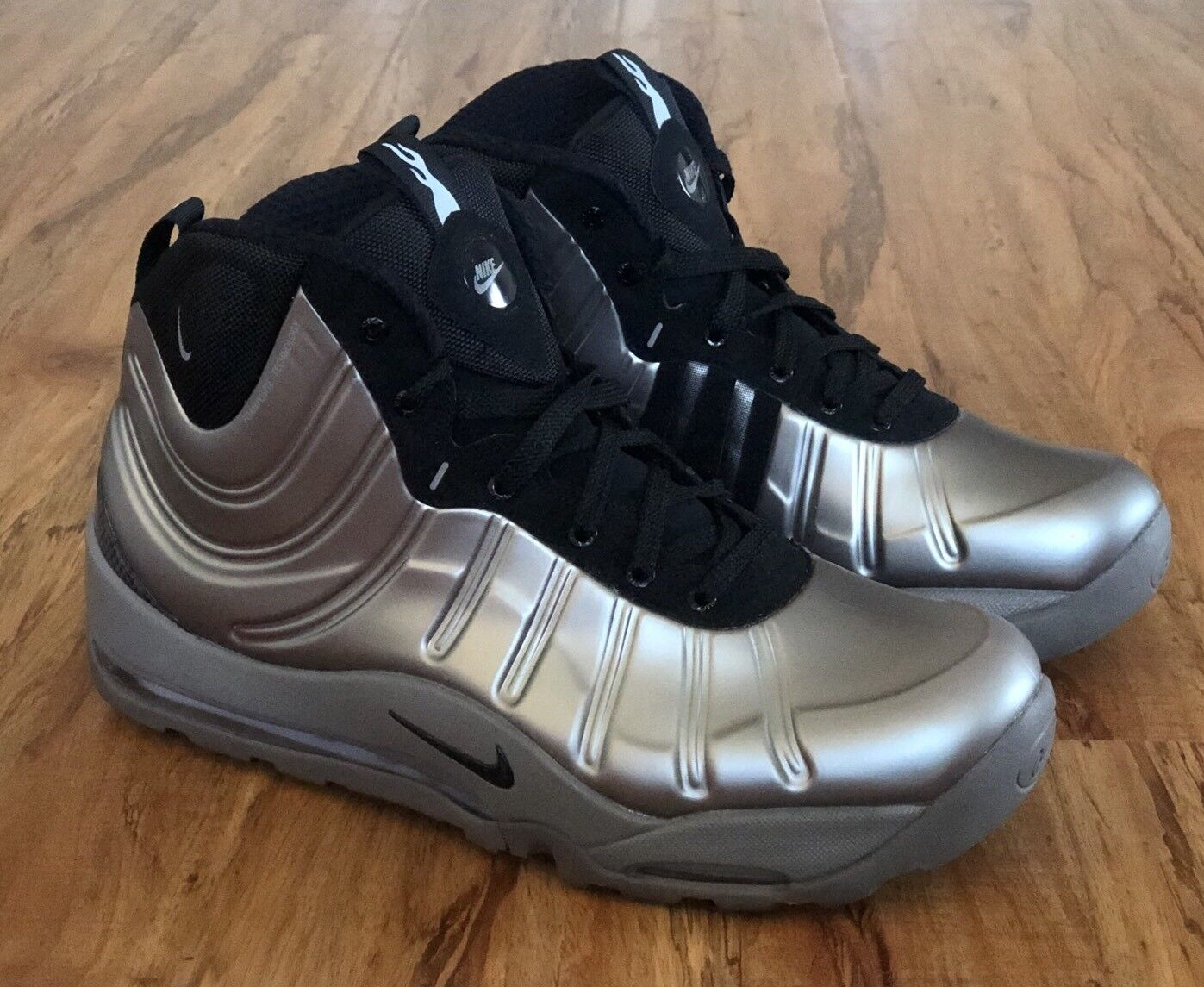Nike Air Bakin Posite Metallic Pewter Black Silver Foamposite 618056-002 Size 12