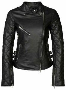 Black Biker Leather Jacket Women Moto Pure Lambskin Size S M L XL XXL Custom Fit