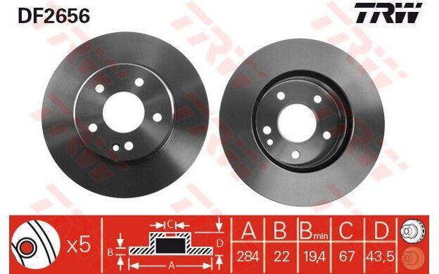 TRW Juego de 2 discos freno 284mm ventilado MERCEDES-BENZ CLASE C DF2656