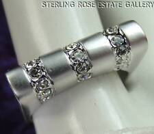 Bar Style STERLING SILVER 0.925 Estate Clear Stone Wedding Band RING size 6