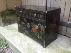 BLACK-LACQUER-CHINESE-2-DRAWER-2-DOOR-ALTAR-TABLE-ORIENTAL-CABINET-BIRDS-FLOWERS