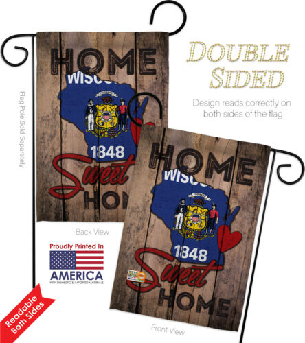 State Wisconsin Home Sweet-Americana States Garden Yard Banner House Flag
