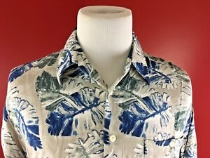 Crossings-Viscose-Rayon-Floral-Hawaiian-Aloha-Shirt-Men-039-s-Large-blue-gray