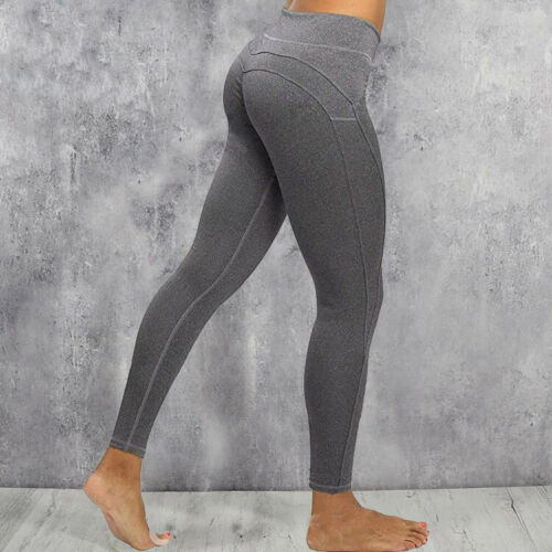 Womens Yoga Pants Pockets Mesh High Waisted Fitness Leggings Gym Sports Stretch