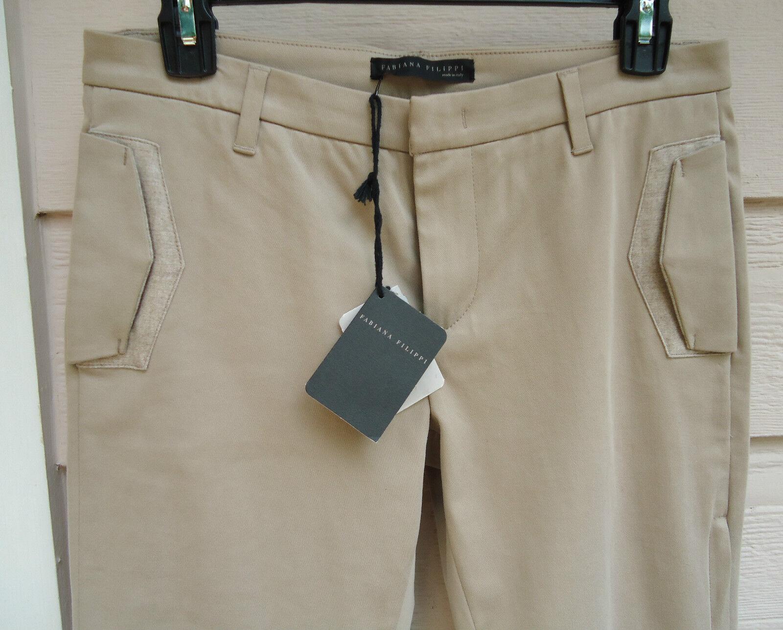 NEW  Fabiana Filippi Cotton Stretch Skinny Pant XS 40 Natural Tan Equestrian