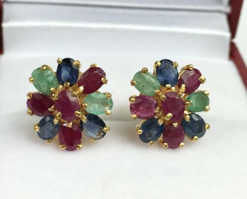 2.89 Grams Details about  /14k Solid Yellow Gold Flower Stud Earrings Natural Mix Stones
