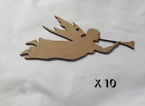 10-Pack-of-Quality-MDF-8cm-Christmas-tree-decorations-ANGEL-amp-HORN-022