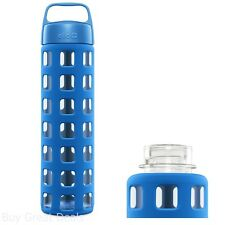 Ello Pure BPA-Free Glass Water Bottle with Lid, Blue Squares Pattern, 20 Oz.