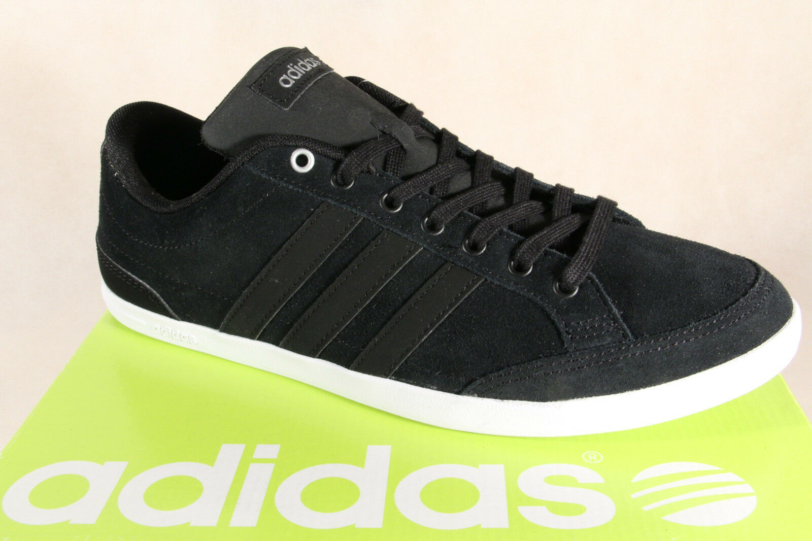 Adidas Lace Up Sneakers Low Shoes Trainers Caflaire Leather Black NEW