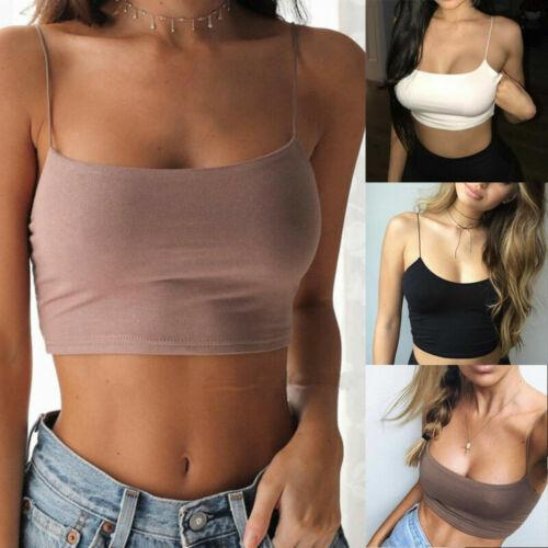 Womens Plain Camisole Stretch Sleeveless Strappy Vest Cami Bra Crop Tank Top