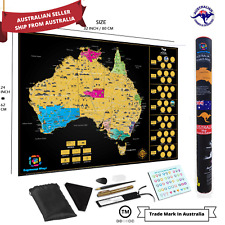 Large Glossy Deluxe Scratch Off Map Of Australia Poster Travel Atlas Decor Tools