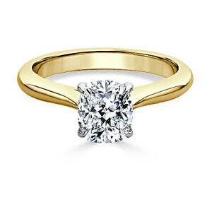 1.00 Ct Cushion Moissanite Anniversary Ring Solid 18K Yellow Gold ring Size 7 8