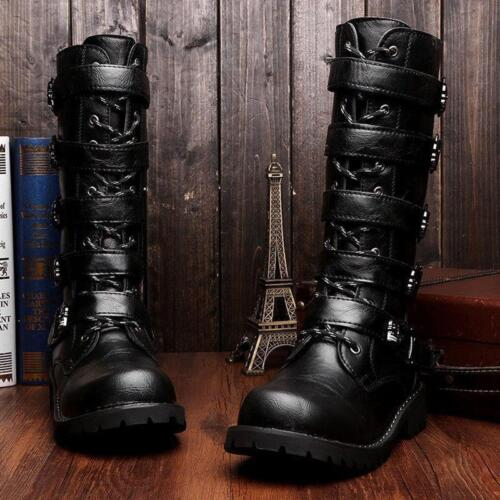 Men/'s High Top Combat Boots Punk Retro Motorcycle Military Knight Shoes Black
