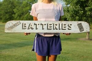 Vintage-Burgess-Batteries-Double-Sided-Wood-Sign-Not-Porcelain-Gas-Oil-NICE