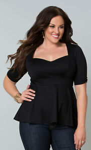 Kiyonna-Women-039-s-Top-2X-Black-Peplum-Style-Made-In-USA-Sweetheart-Neckline