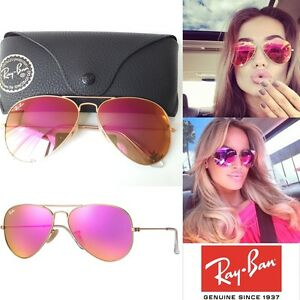357a7eaaf3d Genuine Ray-Ban Aviator RB3025 112 4T Pink Cyclamen Flash Mirror ...