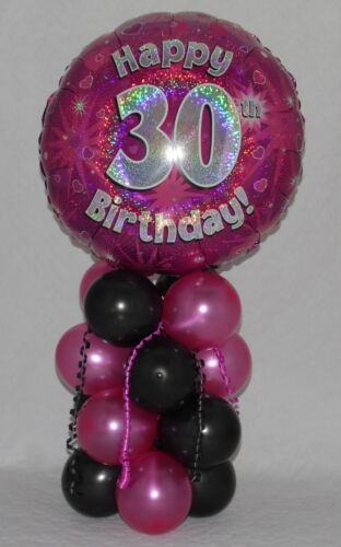 AGE 30 FOIL BALLOON DISPLAY 30th BIRTHDAY FEMALE  PINK TABLE CENTREPIECE