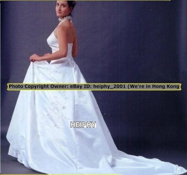 Hq1st S20 Rq Princess Halter Elegant Ivory Wedding Dress Plus