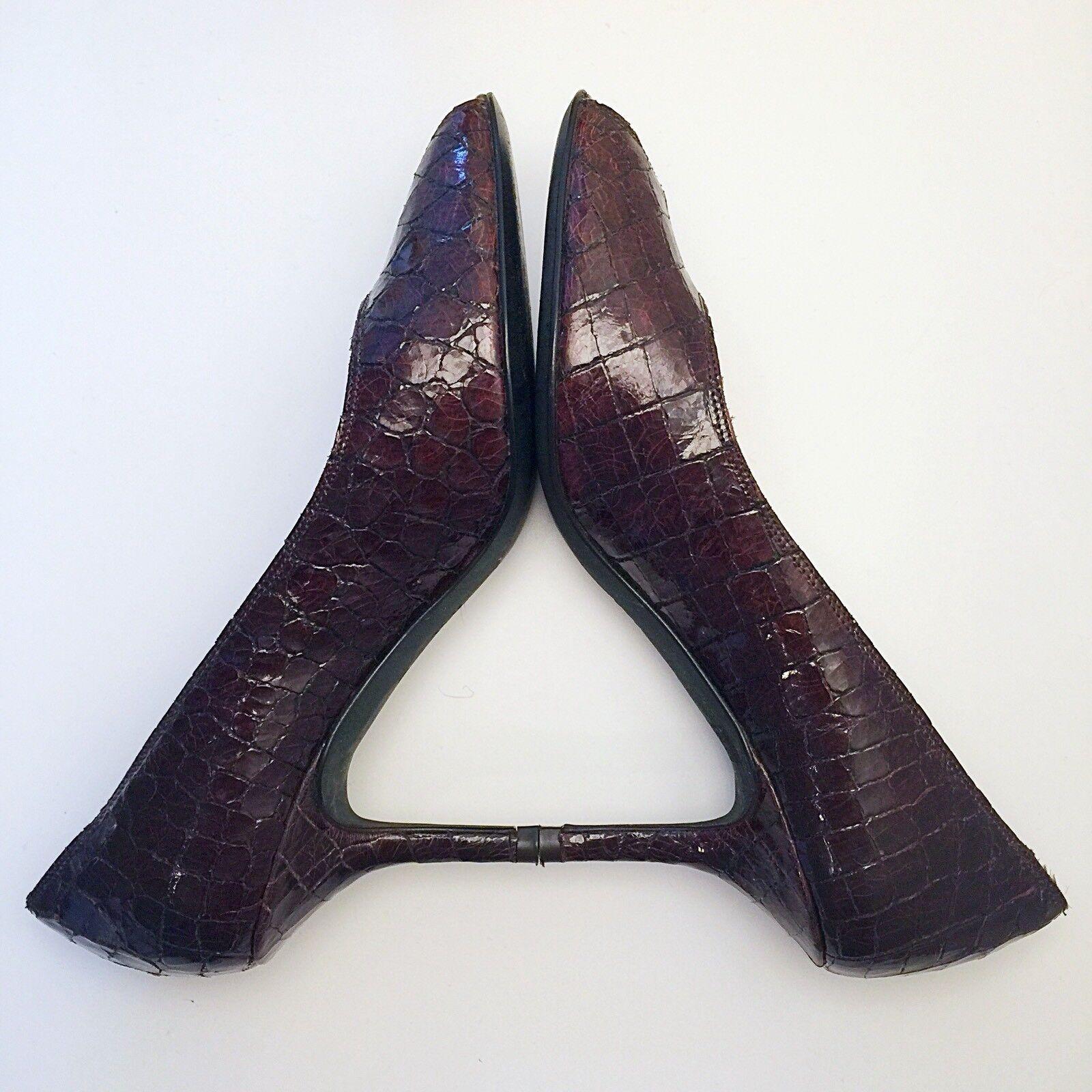400 Donald J Pliner Braun Patent Heels Python Leder Open Toe Heels Patent Schuhes Größe 7M 3287f7