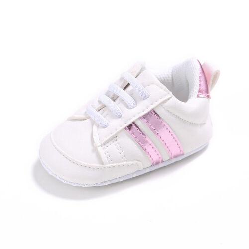 Infant Newborn Baby Boy Girl Pre-Walker Soft Sole White Pram Shoes Trainers Size