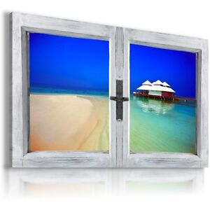 3D-PARADISE-Window-View-Canvas-Wall-Art-Picture-Large-SIZE-37X23-034-W106