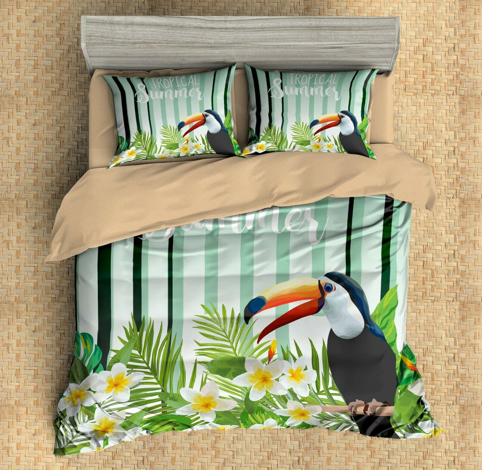 3D Toucan,Floral Quilt Cover Set Bedding Duvet Cover Single Queen King 3pcs 12