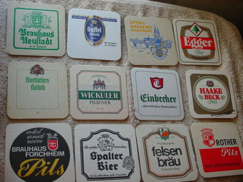 12 BEER COASTERS IMPORTS GAFFEL, EGGER, WICKULER, EINBECKER + USED FREE USA SHIP