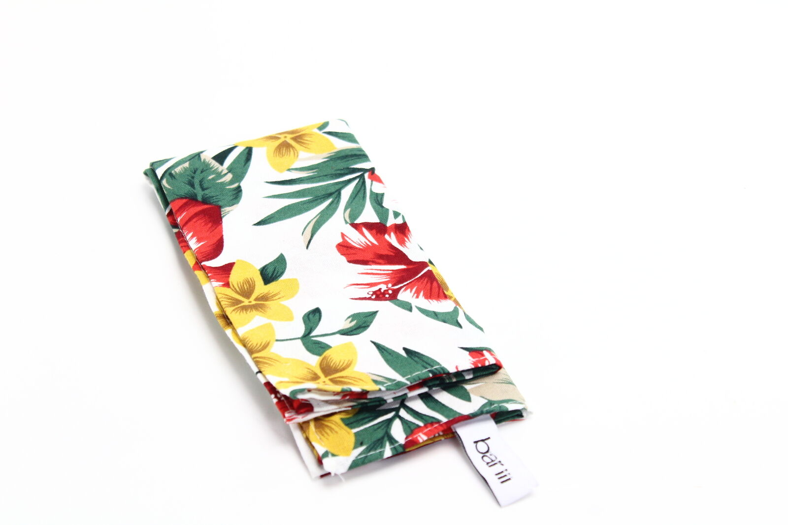 Bar III Men's Pocket Square White Leaf Floral Patterned Accessory - 406