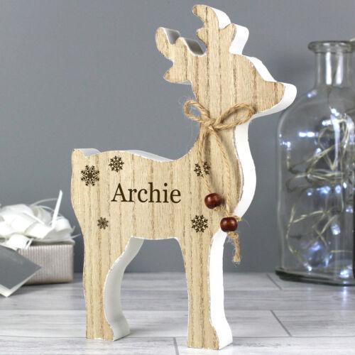 Personalised Rustic Wooden Reindeer Decoration Christmas Gift