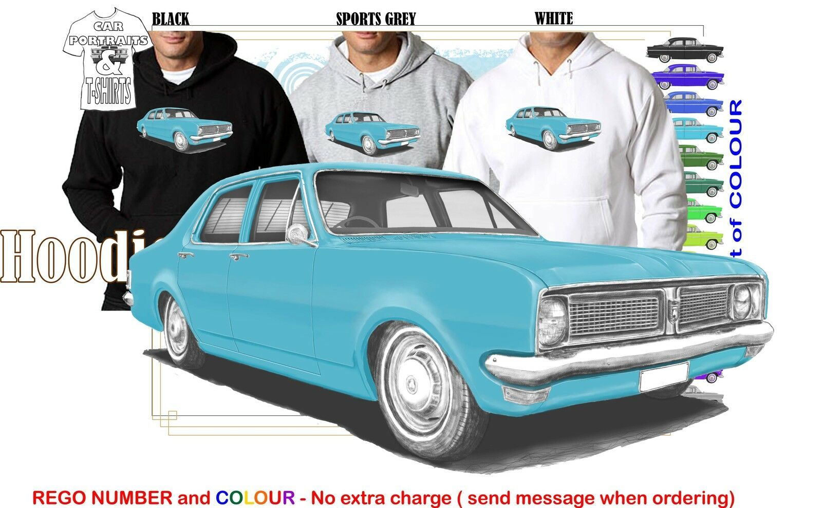 70-71 HG HOLDEN SEDAN HOODIE ILLUSTRATED CLASSIC RETRO MUSCLE SPORTS CAR