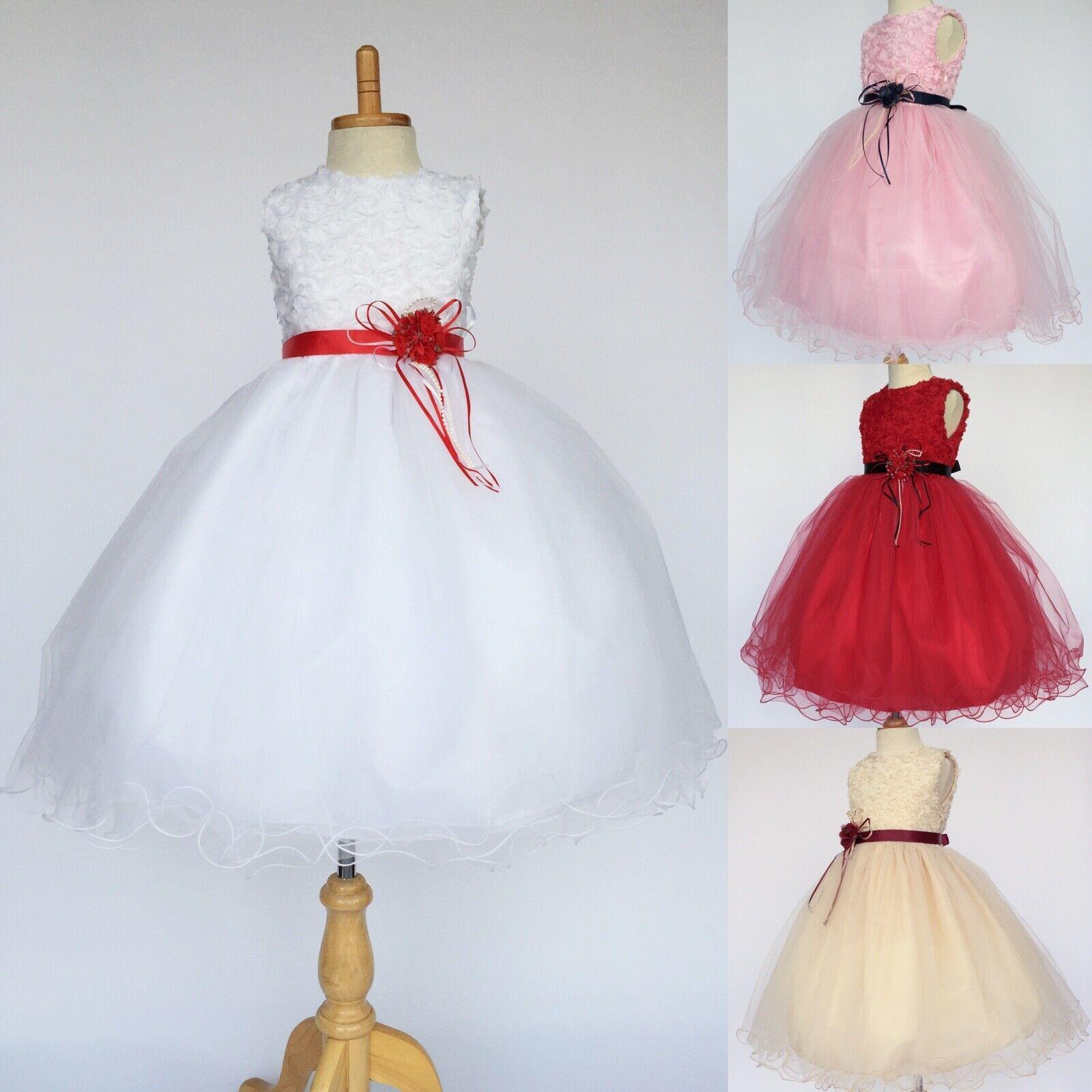Floral Chiffon 2 Layer Tulle Flower Girl Dress Wedding Birthday Pageant Recital