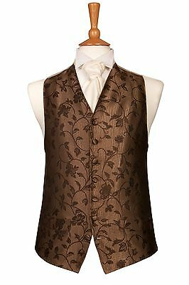 MENS AND PAGE BOYS DESIGNER CHOCOLATE SWIRL WEDDING DRESS SUIT WAISTCOAT