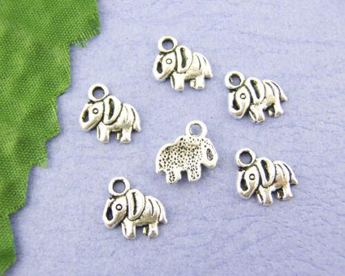 20 ANTIQUE SILVER LUCKY BABY ELEPHANT CHARMS/PENDANT 11 x 11mm BRACELETS   (32E)