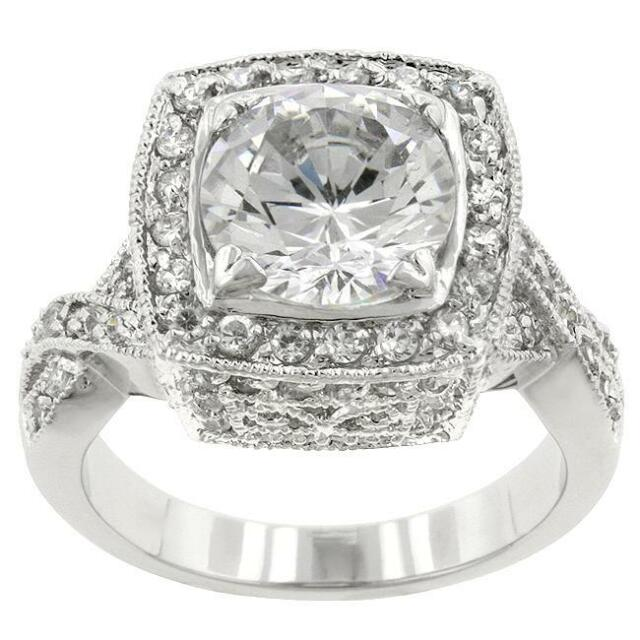 11 Ct CZ Antique Style Cushion Cut Cocktail Wedding Engagement Ring Size 8
