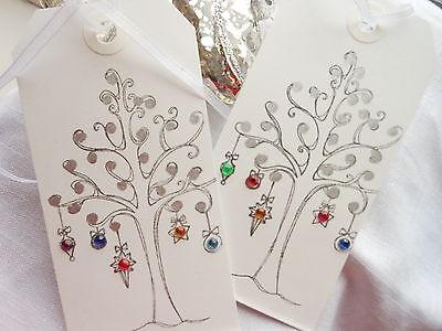 10 Luxury White Christmas BaubleTree Gift Tags Handmade Winter Wedding