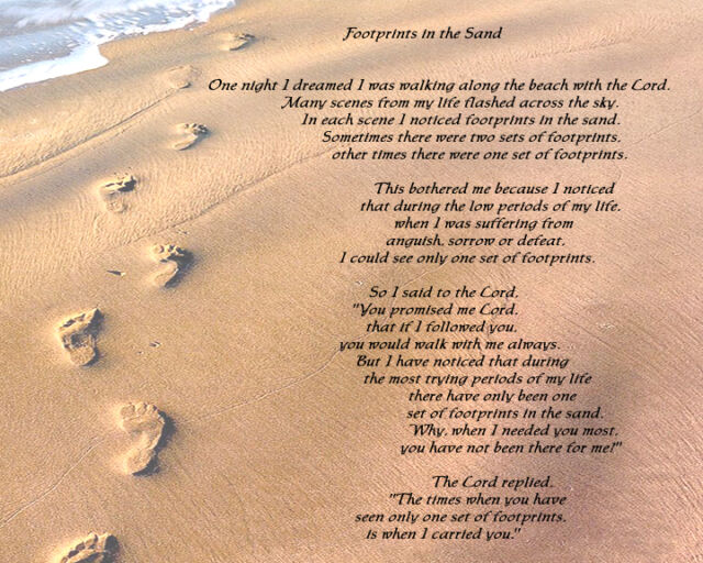 photo about Footprints in the Sand Poem Printable Version titled Footprints within The Sand Released Material Applique for Quilting