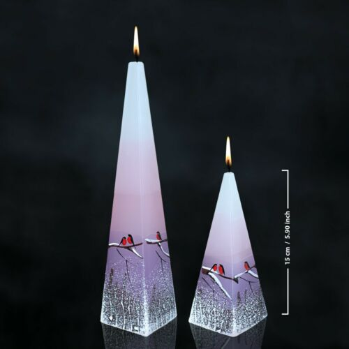 HANDMADE AND HAND PAINTED WINTER CANDLE SWEETHEARTS BALL VOTIVE PINK PILLAR