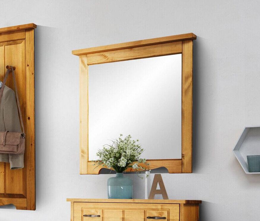 Wandspiegel 80cm Spiegel Massivholz natur Modern Flur Garderobenspiegel 24001311