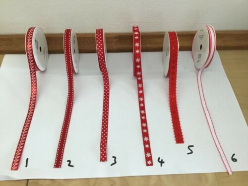 Decorative Ribbon Christmas Ribbon Various Selection  Sold by the metre Red