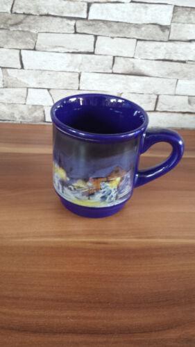 Glühweintasse Becher Punsch Heiße Schokolade Tasse dunkelblau Winterlandschaft