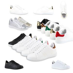 91e9fb570e89e2 Das Bild wird geladen Sportliche-Damen-Sneakers-Low -Turnschuhe-Flats-Schnuerer-78509-