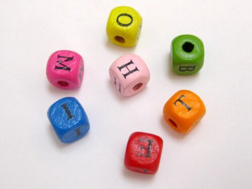 100 Mixed Bright Candy Colour 10mm Cube Wood Alphabet Letter Beads