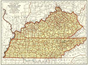 Details about 1939 Antique KENTUCKY Map TENNESSEE Map of Kentucky Gallery  Wall Art 6546