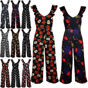 Womens Ladies 3//4 Peplum Ruffle Frill V Neck Wide Leg Playsuit Jumpsuit Palazzo