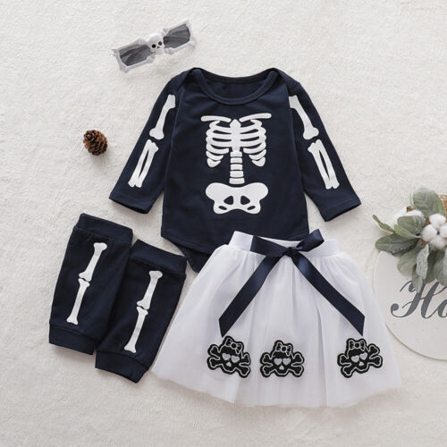 3PC Baby Toddler Girls Skeleton Skull Halloween Outfits Romper+Leg Warmers+Skirt